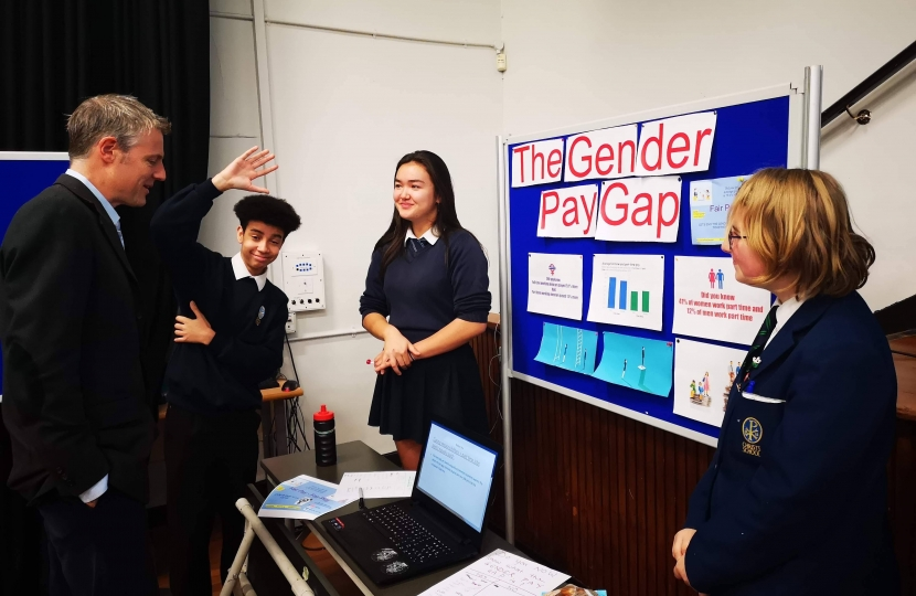 Zac Goldsmith MP at Christ's School in Richmond discussing the gender pay gap