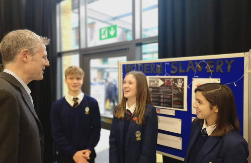 Zac Goldsmith MP at Christ's School in Richmond talking with campaign against modern slavery
