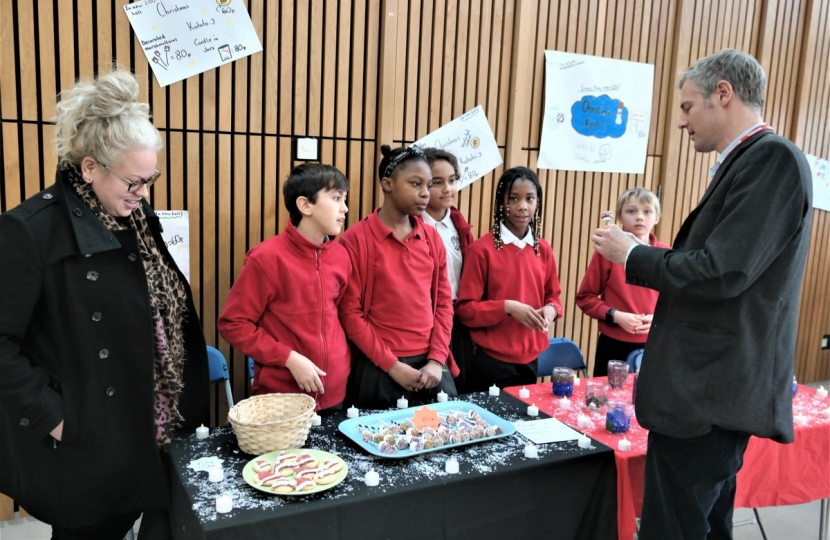 Zac Goldsmith MP judging local school mini enterprises at Lowther School in Barnes