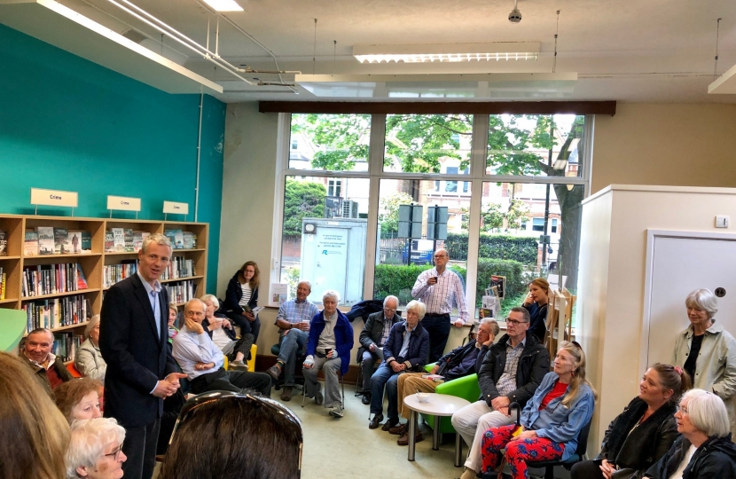 Zac Goldsmith MP coffee morning to discuss Hammersmith Bridge at Castelnau Library in Barnes